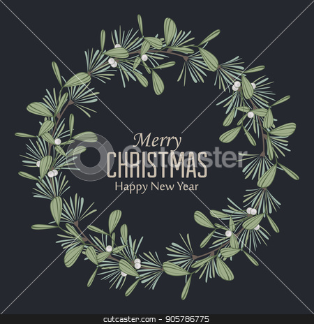 Christmas wreath with branches and mistletoe stock vector clipart, Vector illustration of Christmas wreath with branches and mistletoe. Happy Christmas greeting card by Miroslava Hlavacova