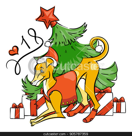 Yellow dog for New Year 2018, cute symbol of horoscope. Cute puppy in cartoon doodle style. stock vector clipart, Yellow dog for New Year 2018, cute symbol of horoscope. Cute puppy in cartoon doodle style. Vector illustration. by Drekhann