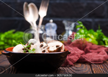 raw mushroom stock photo, raw mushroom in bowl and on a table by tycoon