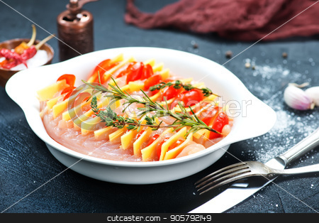 chicken breast stock photo, chicken breast with cheese on the plate by tycoon