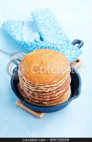 pancakes stock photo, sweet pancakes on plate and on a table by tycoon
