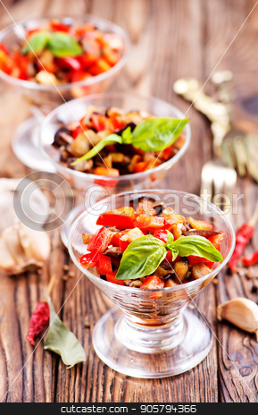 salad stock photo, salad with grilled vegetables in the glass bowl by tycoon