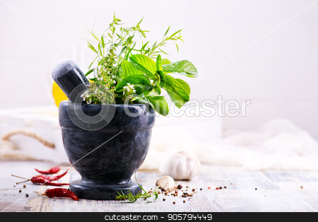 aroma herb and spice stock photo, aroma herb and spice on the kitchen table by tycoon