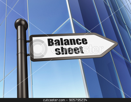 Currency concept: sign Balance Sheet on Building background stock photo, Currency concept: sign Balance Sheet on Building background, 3D rendering by mkabakov