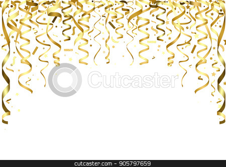 Golden Falling Confetti and Ribbons stock vector clipart, Golden Falling Confetti and Ribbons - Party Background Illustration, Vector by derocz
