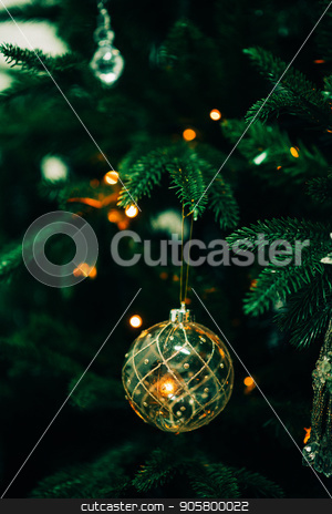 Closeup of Green Christmas tree and pink ball decorations stock photo, Closeup of Green Christmas tree and ball decorations by Alexandra Malyck
