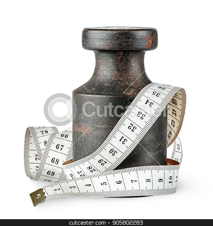 Old rusty weight wrapped centimeter stock photo, Old rusty weight wrapped centimeter isolated on white background by Vitalii Borovyk