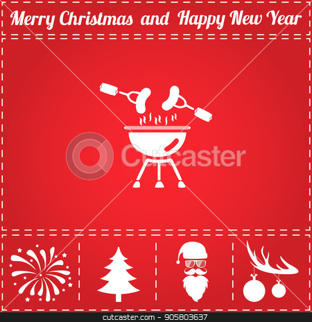 Grill Icon Vector stock vector clipart, Grill Icon Vector. And bonus symbol for New Year - Santa Claus, Christmas Tree, Firework, Balls on deer antlers by Liudmila Marykon