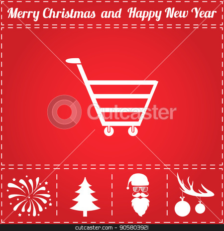 Trolley Icon Vector stock vector clipart, Trolley Icon Vector. And bonus symbol for New Year - Santa Claus, Christmas Tree, Firework, Balls on deer antlers by Liudmila Marykon