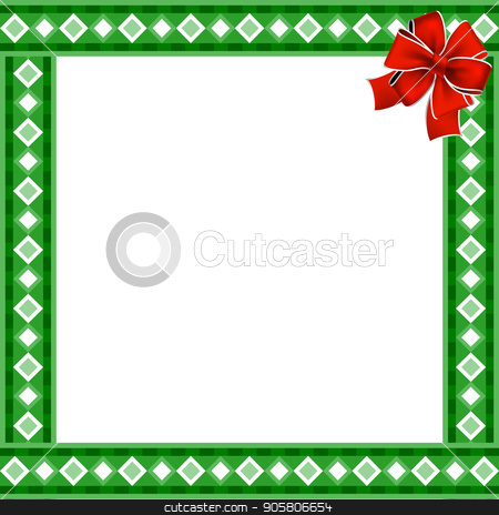 cute christmas or new year border with rhombus pattern on green background