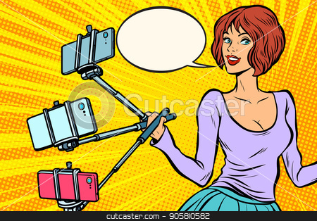 selfie stick woman stock vector clipart, selfie stick woman. Pop art retro vector illustration by studiostoks