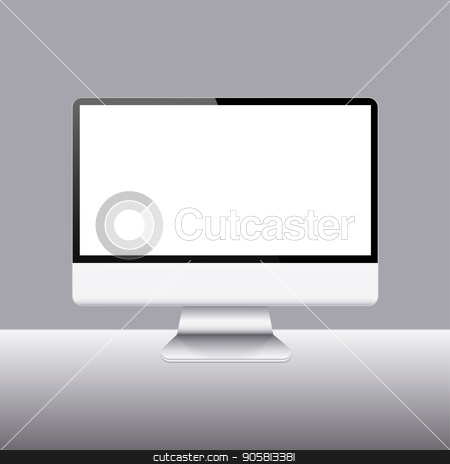 Vector modern realistic computer monitor icon stock vector clipart, Vector modern realistic computer monitor icon on sample background by petr zaika