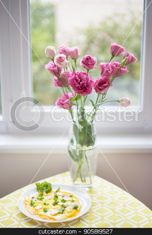 beautiful bouquet of bright pink flowers stock photo, Scrambled eggs with fresh herbs on a plate by Sergiy Artsaba