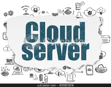 Cloud computing concept: Cloud Server on Torn Paper background stock photo, Cloud computing concept: Painted blue text Cloud Server on Torn Paper background with  Hand Drawn Cloud Technology Icons by mkabakov