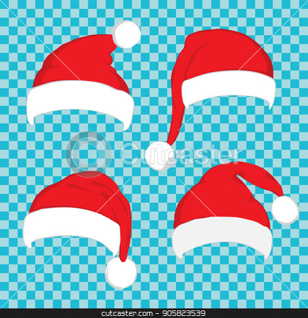 Santa Claus red hat set on white stock vector clipart, Santa hat set on blue transparent background. Vector Santa red hat. Big set of red santa hats. Red Santa hat isolated on blue. by Sid10