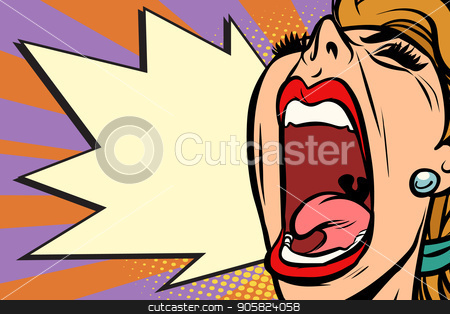 Close-up face pop art woman screaming rage stock vector clipart, Close-up face pop art woman screaming rage. Comic book cartoon retro vector illustration drawing by rogistok