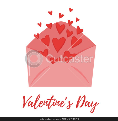 Valentine's day romantic gift card stock vector clipart, Vector cartoon style illustration of Valentine's day romantic gift card with love letter full of hearts.  by curiosity