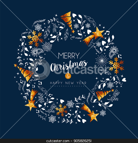 Christmas and new year gold low poly wreath card stock vector clipart, Merry Christmas New Year modern luxury greeting card with gold color xmas decoration and holiday ornaments in wreath shape. EPS10 vector. by Cienpies Design