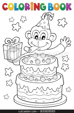 Coloring book cake and party monkey stock vector clipart, Coloring book cake and party monkey - eps10 vector illustration. by Klara Viskova
