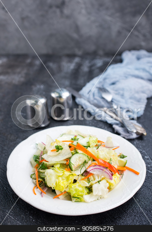 salad stock photo, fresh vegetarian salad with salt,oil and aroma spice by tycoon