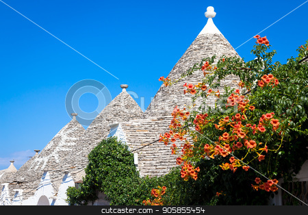 Alberobello, ITALY - Trulli di Alberobello, UNESCO heritage site stock photo, Alberobello, Puglia Region, South of Italy. Traditional roofs of the Trulli, original and old houses of this region. by Paolo Gallo