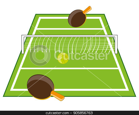 Table for tennis stock vector clipart, Tennis table with racket and ball on white background by cobol1964