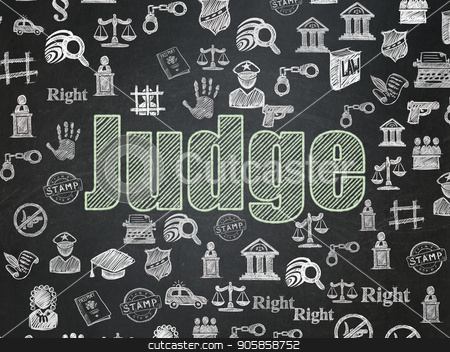 Law concept: Judge on School board background stock photo, Law concept: Chalk Green text Judge on School board background with  Hand Drawn Law Icons, School Board by mkabakov
