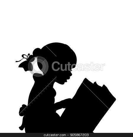 Silhouette Of Girl Reading Books Stock Vector