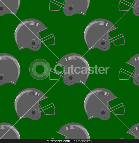 Sport Football Helmet Seamless Pattern stock vector clipart, Sport Football Helmet Seamless Pattern on Green Background by valeo5