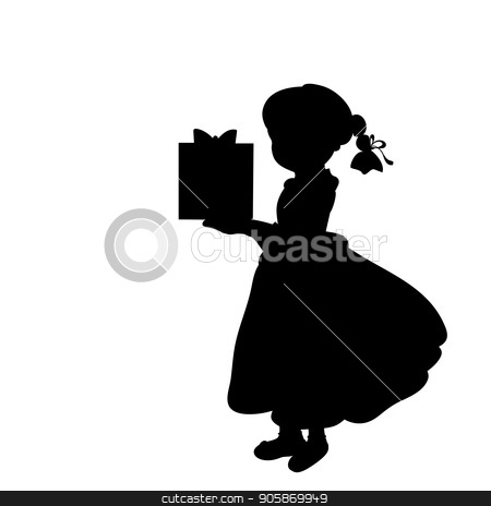 Silhouette girl holiday holding a gift stock vector clipart, Silhouette girl holiday holding a gift. Vector illustration by kozyrevaelena