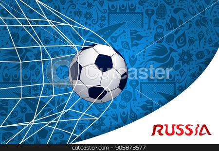 Soccer match russian background design stock vector clipart, Russia illustration with football goal and traditional russian culture background. EPS10 vector. by Cienpies Design