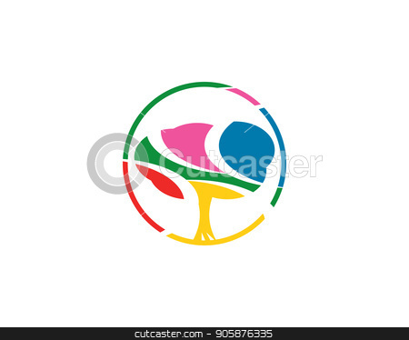 colorful tree logo stock photo, is a symbol associated with the nature of the tree by meisuseno