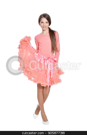 3bccb9000d28 Happy little girl in pink dress posing isolated stock photo