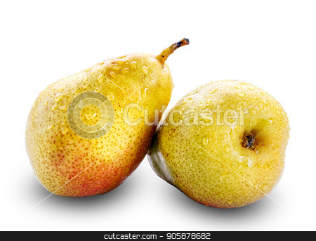 Two yellow pears on white with a clipping path stock photo, Fresh yellow pears isolated on white with a clipping path by serkucher
