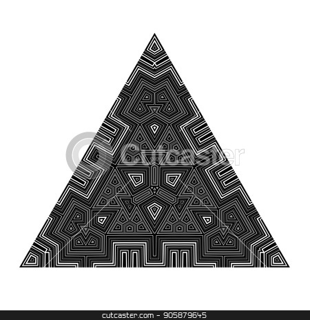 Black Geometric Triangle Isolated on White Background stock vector clipart, Black Mosaic Geometric Triangle Isolated on White Background by valeo5
