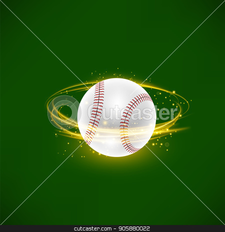 Flying Baseball Ball with Yellow Sparkles on Green Background stock vector clipart, Flying Baseball Ball with Yellow Sparkles Isolated on Green Background by valeo5