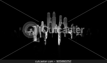 Middle of 3d city is illuminated by a spotlight stock photo, The middle of the 3d city is illuminated by a spotlight and around it is dark. 3d illustration. The concept of urban life and construction by cherezoff