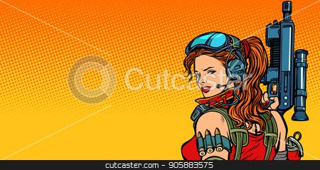futuristic woman with guns close-up stock vector clipart, futuristic woman with guns close-up. Pop art retro vector illustration comic cartoon vintage kitsch drawing by studiostoks