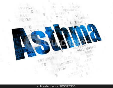 Medicine concept: Asthma on Digital background stock photo, Medicine concept: Pixelated blue text Asthma on Digital background by mkabakov