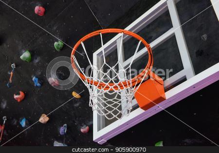 Basketball basket closeup stock photo, Basketball basket in the modern gym by olinchuk