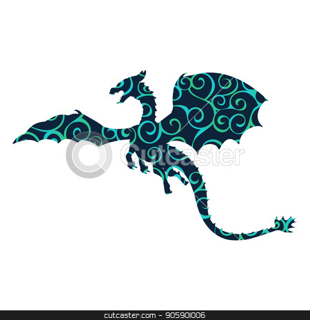 Dragon fantastic pattern silhouette symbol mythology fantasy. stock vector clipart, Dragon fantastic pattern silhouette symbol mythology fantasy.  Vector illustration. by kozyrevaelena