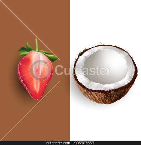 Coconut and strawberry. Vector illustration stock vector clipart, Coconut and strawberry on a chocolate and white background. by ConceptCafe