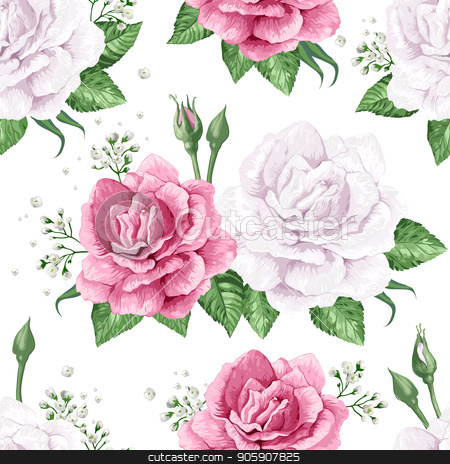 Rose flowers, petals and leaves in watercolor style on white background. Seamless pattern for textile, wrapping paper, package, stock vector clipart, Rose flowers, petals and leaves in watercolor style on white background. Seamless pattern for textile, wrapping paper, package, Art vector illustration. by verock