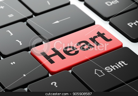 Healthcare concept: Heart on computer keyboard background stock photo, Healthcare concept: computer keyboard with word Heart, selected focus on enter button background, 3D rendering by mkabakov