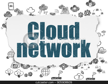 Cloud networking concept: Cloud Network on Torn Paper background stock photo, Cloud networking concept: Painted blue text Cloud Network on Torn Paper background with  Hand Drawn Cloud Technology Icons by mkabakov