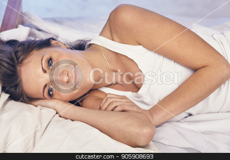 Young lady enjoying her morning and wake up. stock photo, Pretty woman have fine on her bedroom. Young lady enjoying her morning and wake up. by Roman Shyshak