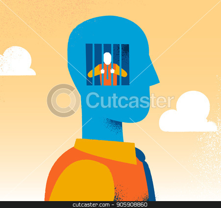 Privacy and censorship concept. Man is prisoner of yourself stock vector clipart, Forbidden and censorship concept. Man is prisoner of yourself by Mirko