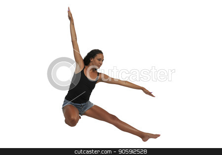 Beautiful woman dancer stock photo, Beautiful young woman professional ballet show or modern dancer by Robert Byron