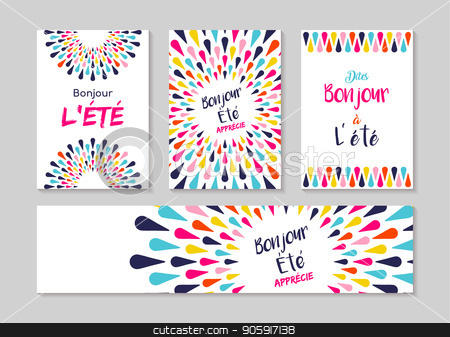 Hello summer french greeting card label set stock vector similar images hello summer french greeting card m4hsunfo