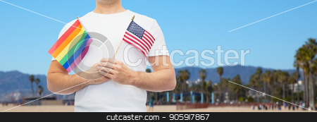 man with gay pride rainbow flag and american stock photo, lgbt, same-sex relationships and homosexual concept - close up of man holding gay pride rainbow and american flag over venice beach background in california by Syda Productions